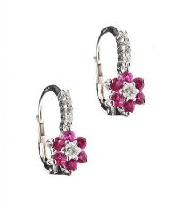 18CT WHITE GOLD RUBY AND DIAMOND CLUSTER EARRINGS at Ross's Auctions