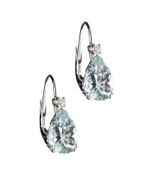 18CT WHITE GOLD AQUAMARINE AND DIAMOND EARRINGS at Ross's Auctions