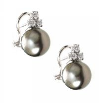 18CT WHITE GOLD TAHITIAN PEARL AND DIAMOND EARRINGS at Ross's Auctions