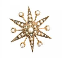 15CT GOLD SEED PEARL STARBURST BROOCH/PENDANT at Ross's Auctions