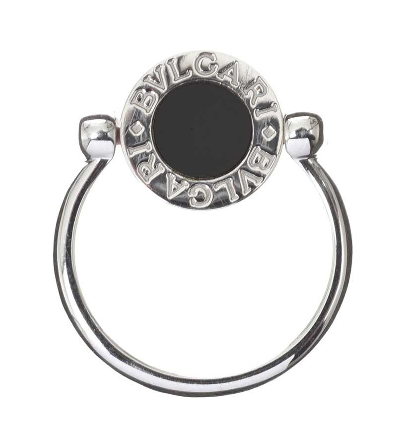 BVLGARI 18CT WHITE GOLD SWIVEL RING SET WITH ONYX at Ross's Online Art Auctions