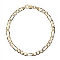 9CT GOLD FIGARO-LINK BRACELET at Ross's Jewellery Auctions
