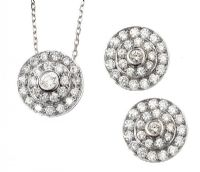 18CT WHITE GOLD DIAMOND NECKLACE AND EARRING SUITE at Ross's Auctions