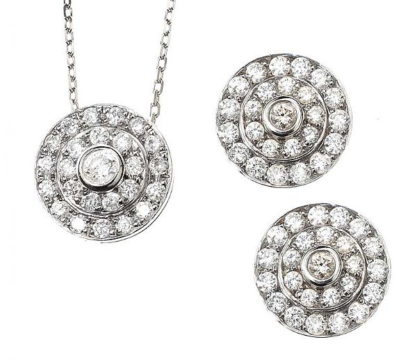18CT WHITE GOLD DIAMOND NECKLACE AND EARRING SUITE at Ross's Online Art Auctions
