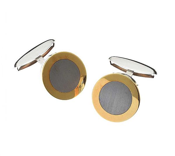 CHOPARD STAINLESS STEEL AND 18CT GOLD CUFFLINKS at Ross's Online Art Auctions
