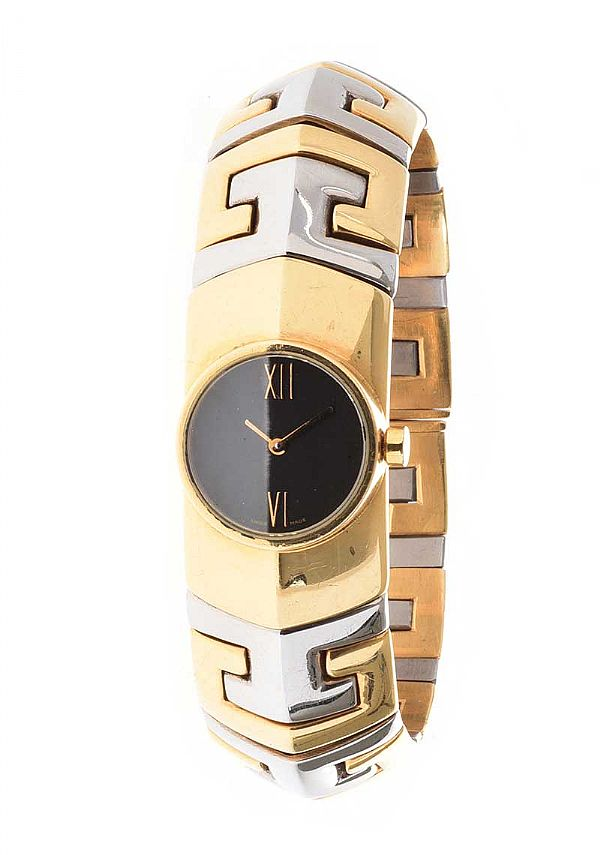 BVLGARI STAINLESS STEEL AND 18CT GOLD LADY'S WRIST WATCH at Ross's Online Art Auctions
