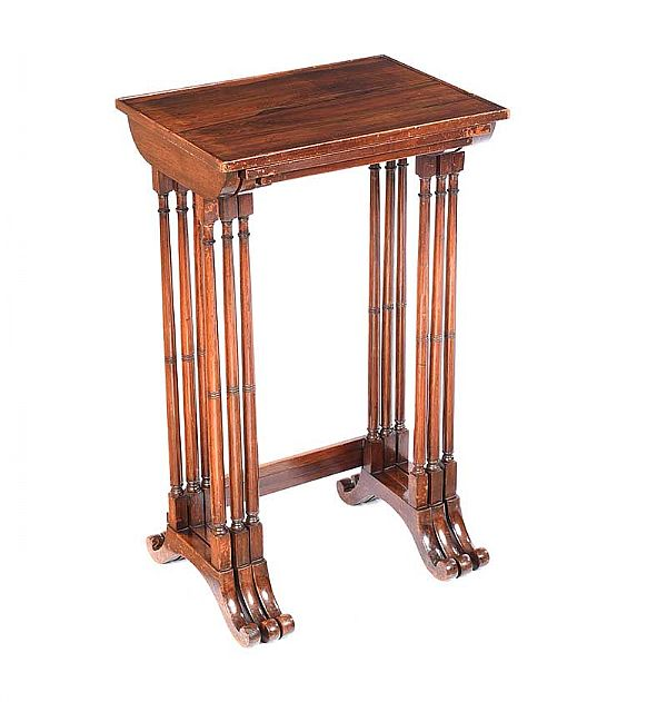REGENCY ROSEWOOD NEST OF THREE TABLES at Ross's Online Art Auctions