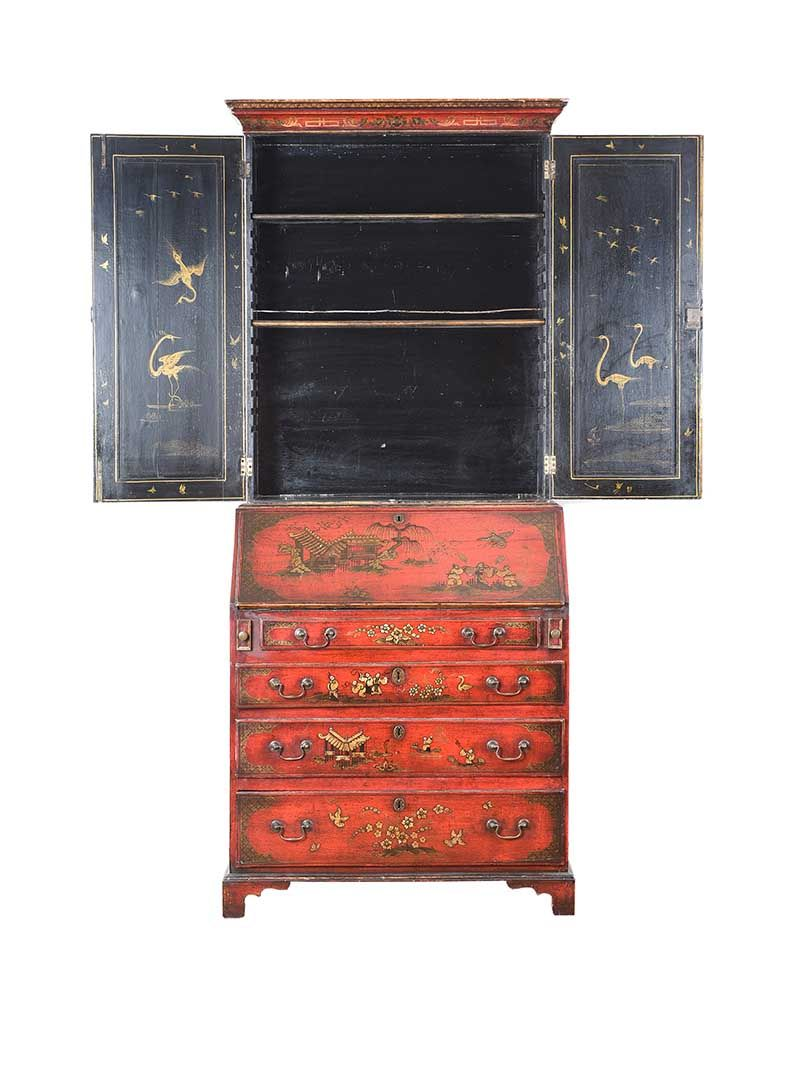 GEORGIAN JAPANNED RED LACQUERED BUREAU BOOKCASE at Ross's Online Art Auctions