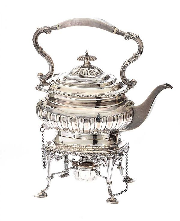 SILVER SPIRIT KETTLE ON STAND at Ross's Online Art Auctions
