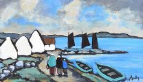 VILLAGE ON THE COAST, WEST OF IRELAND by Markey Robinson at Ross's Auctions
