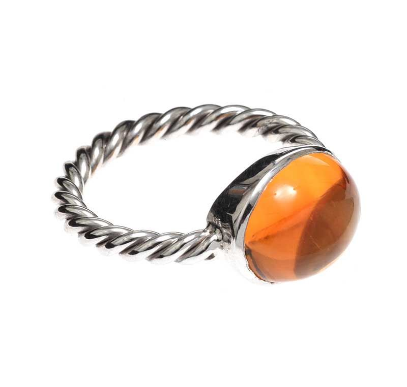 18CT WHITE GOLD RING SET WITH CITRINE at Ross's Online Art Auctions