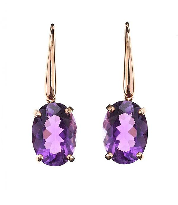 18CT ROSE GOLD EARRINGS SET WITH AMETHYST at Ross's Online Art Auctions