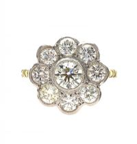 18CT WHITE GOLD DIAMOND CLUSTER RING at Ross's Jewellery Auctions