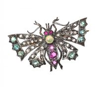 SILVER-ON-GOLD MULTI-GEM BUTTERFLY BROOCH at Ross's Jewellery Auctions