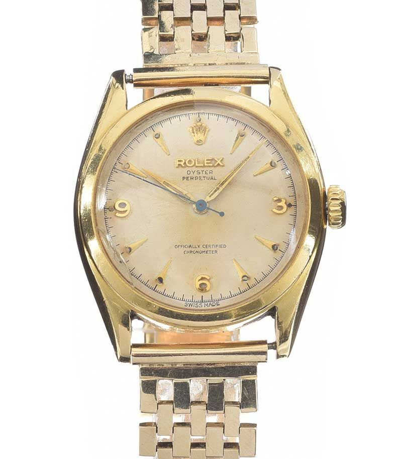 ROLEX 'OYSTER PERPETUAL' 9CT GOLD GENT'S WRIST WATCH at Ross's Online Art Auctions