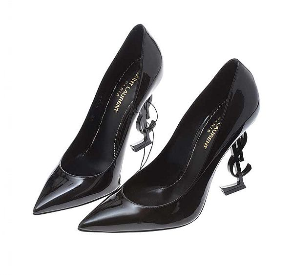 SAINT LAURENT BLACK OPYUM BLACK PATENT LEATHER PUMPS at Ross's Online Art Auctions