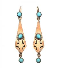 MID CARAT GOLD TURQUOISE EARRINGS at Ross's Jewellery Auctions