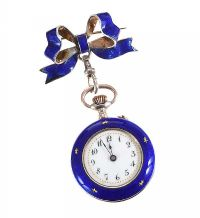 SILVER AND ENAMEL FOB WATCH WITH BROOCH at Ross's Auctions