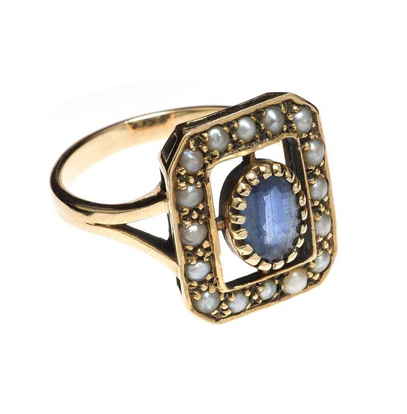 9CT GOLD BLUE STONE AND SEED PEARL RING at Ross's Online Art Auctions