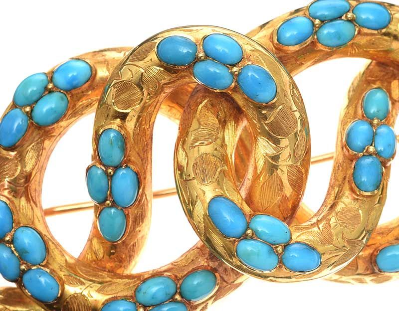 ANTIQUE MID-CARAT GOLD TURQUOISE BROOCH at Ross's Online Art Auctions