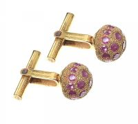 GOLD-TONE RUBY-SET CUFFLINKS at Ross's Jewellery Auctions
