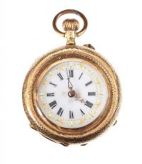 18CT GOLD LADY'S FOB WATCH WITH ENAMEL at Ross's Auctions
