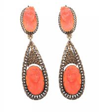 PAIR OF GOLD-TONE CORAL AND CAMEO-SET EARRINGS at Ross's Jewellery Auctions