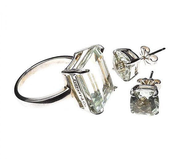 TIFFANY & CO STERLING SILVER AND PRASIOLITE JEWELLERY SUITE at Ross's Online Art Auctions