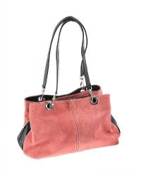 PINK SUEDE AND BLACK LEATHER HANDBAG at Ross's Jewellery Auctions