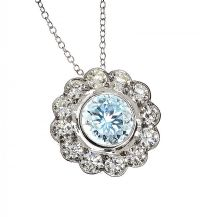 18CT WHITE GOLD AQUAMARINE AND DIAMOND NECKLACE at Ross's Auctions