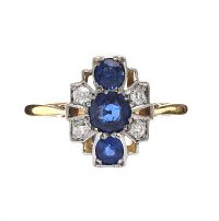 18CT GOLD SAPPHIRE AND DIAMOND RING at Ross's Auctions
