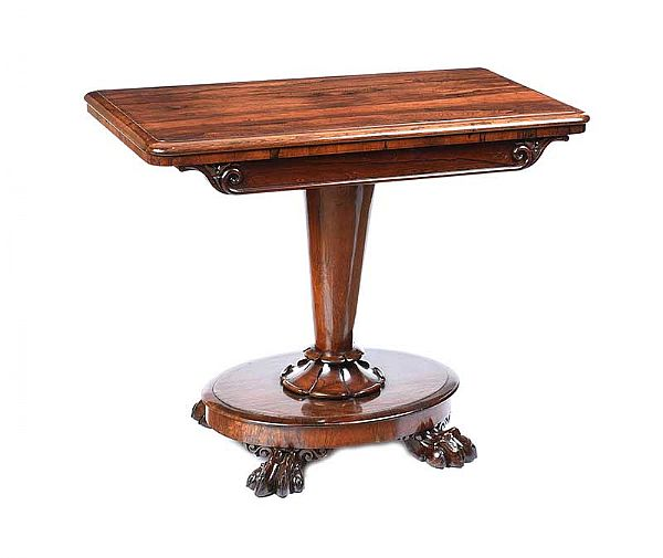 WILLIAM IV ROSEWOOD TURN OVER LEAF CARD TABLE at Ross's Online Art Auctions