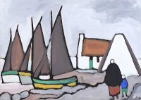 IRISH COTTAGE & FISHING BOATS by Markey Robinson at Ross's Auctions