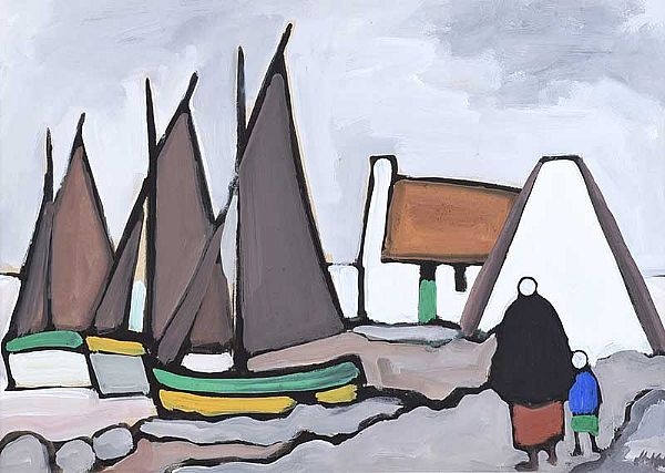 IRISH COTTAGE & FISHING BOATS by Markey Robinson at Ross's Online Art Auctions