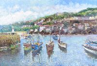 FISHING BOATS IN A CORNISH HARBOUR by John Ambrose at Ross's Auctions