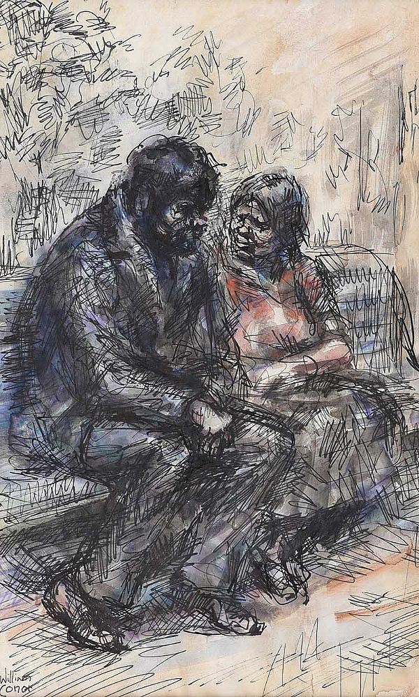A CHAT ON THE PARK BENCH by William Conor RHA RUA at Ross's Online Art Auctions