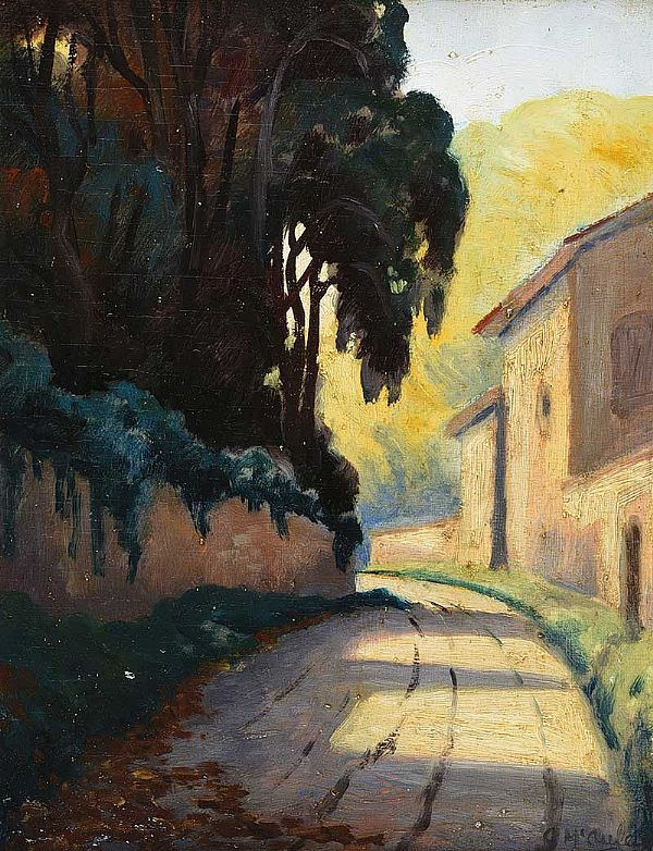 PATH IN THE VILLAGE by Charles McAuley at Ross's Online Art Auctions