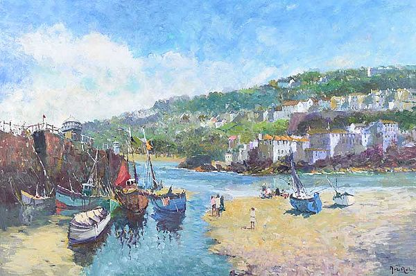 BEACHED FISHING BOATS by John Ambrose at Ross's Online Art Auctions