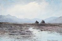 TURF STACKS & BOGLANDS, CONNEMARA by William Percy  French at Ross's Auctions