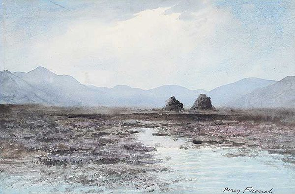 TURF STACKS & BOGLANDS, CONNEMARA by William Percy  French at Ross's Online Art Auctions