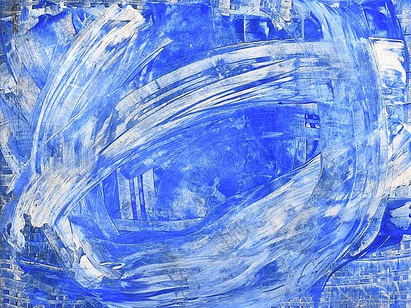 BLUE ABSTRACT by Gerard Dillon at Ross's Online Art Auctions