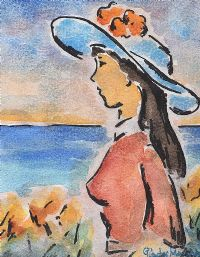GIRL IN THE BLUE HAT by Gladys Maccabe HRUA at Ross's Auctions