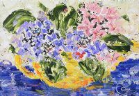 TEAPOT OF HYDRANGEAS by Lynda Cookson at Ross's Auctions
