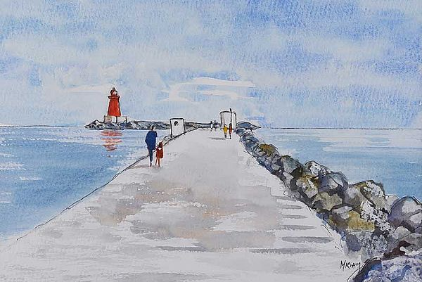 WALKING TO POOLBEG, SANDYMOUNT by Miriam Morrissey at Ross's Online Art Auctions