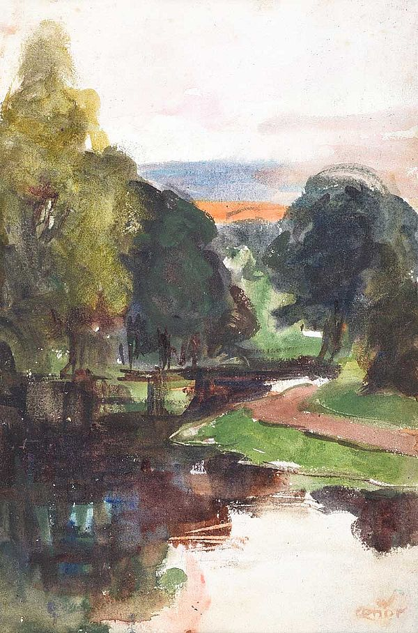 TREES BY THE RIVER LAGAN by William Conor RHA RUA at Ross's Online Art Auctions