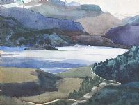 DISTANT MOUNTAINS ACROSS THE LOUGH by Kathleen Bridle RUA at Ross's Auctions