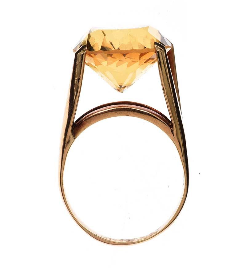 14CT GOLD RING SET WITH CITRINE at Ross's Online Art Auctions
