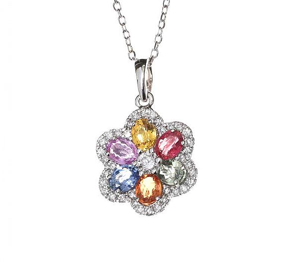 18CT WHITE GOLD MULTI-GEM SET NECKLACE at Ross's Online Art Auctions