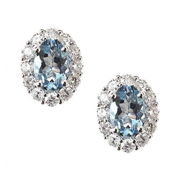 18CT WHITE GOLD AQUAMARINE AND DIAMOND EARRINGS at Ross's Online Art Auctions
