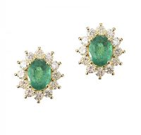 18CT GOLD EMERALD AND DIAMOND EARRINGS at Ross's Auctions